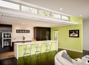 Slender-modern-kitchen-lit-up-gorgeously-with-a-gentle-shade-of-light-lemon-green