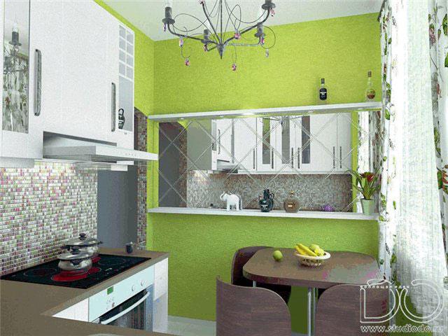 Зеркала в интерьере кухни фото