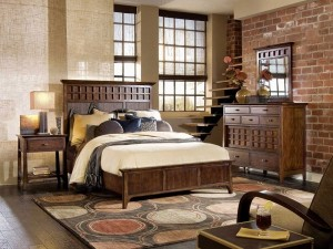 rustic-bedroom-design-brown-tones-carpet-circles