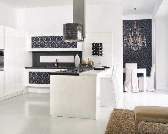 комбинирование обоев на кухне