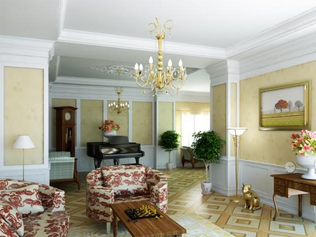 гостиная в ретро стиле