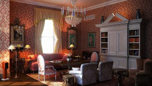 Classic-interior-design-red-jacquard-color-scheme