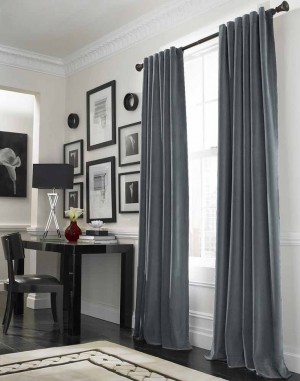 Cool Grey Curtain Ideas For Large Windows Modern Home Office Table