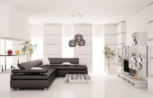 Modern living room with black sofa and LCD interior 3d render