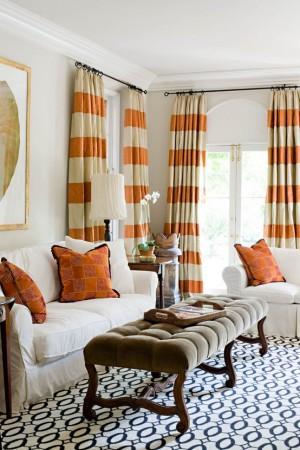 living-room-curtains-ideas-orange-stripes