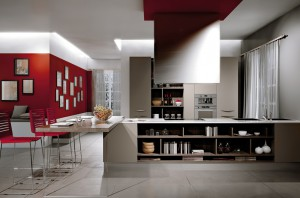 red-accent-wall
