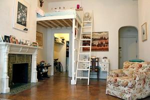 Vintage Studio Apartments Design Loft Bed Floral Sofa