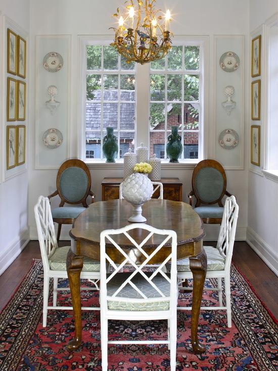 Зонирование пространства столовой ковром