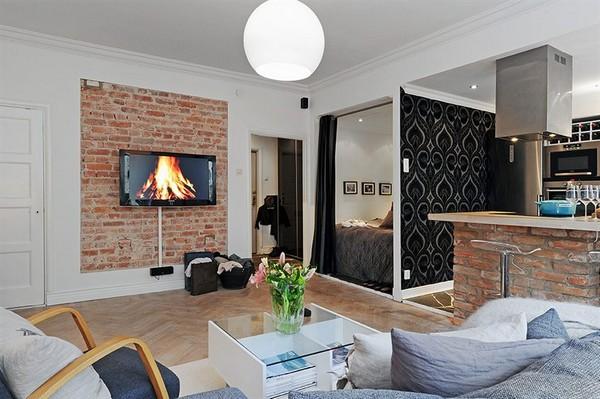 Яркие акценты в маленькой квартире как визуальное расширение помещения