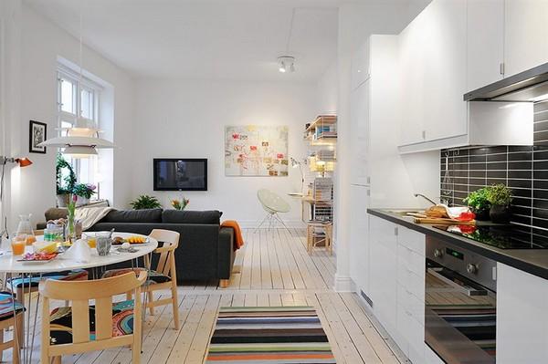 Вариант компактного расположения мебели в маленьком пространстве