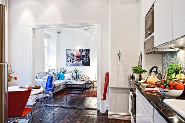 Молодежный интерьер маленькой квартиры