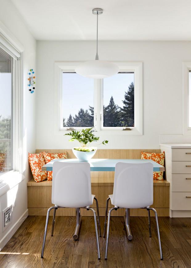 Природные цвета в оформление маленькой столовой
