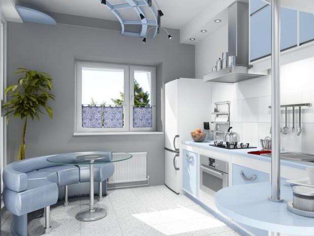 Декор в оформлении малогабаритной кухни белого цвета