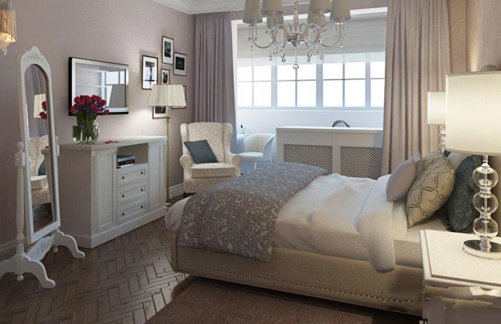 Интерьер спальни с балконом с фото