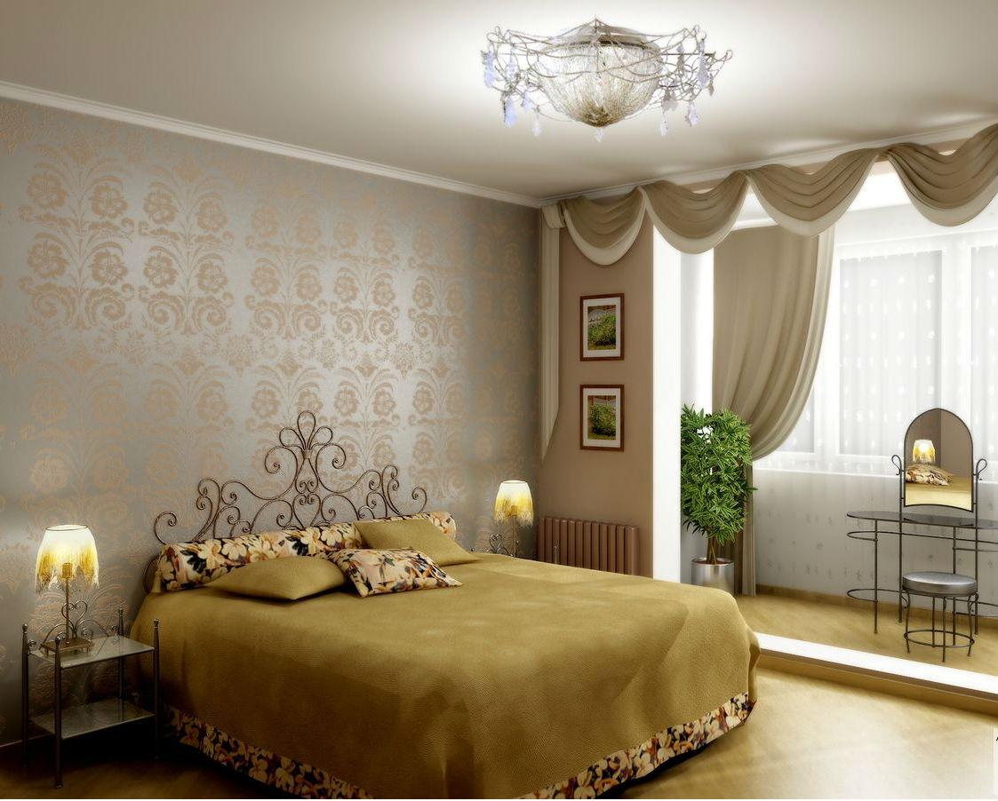 Современный дизайн спальни с балконом.
