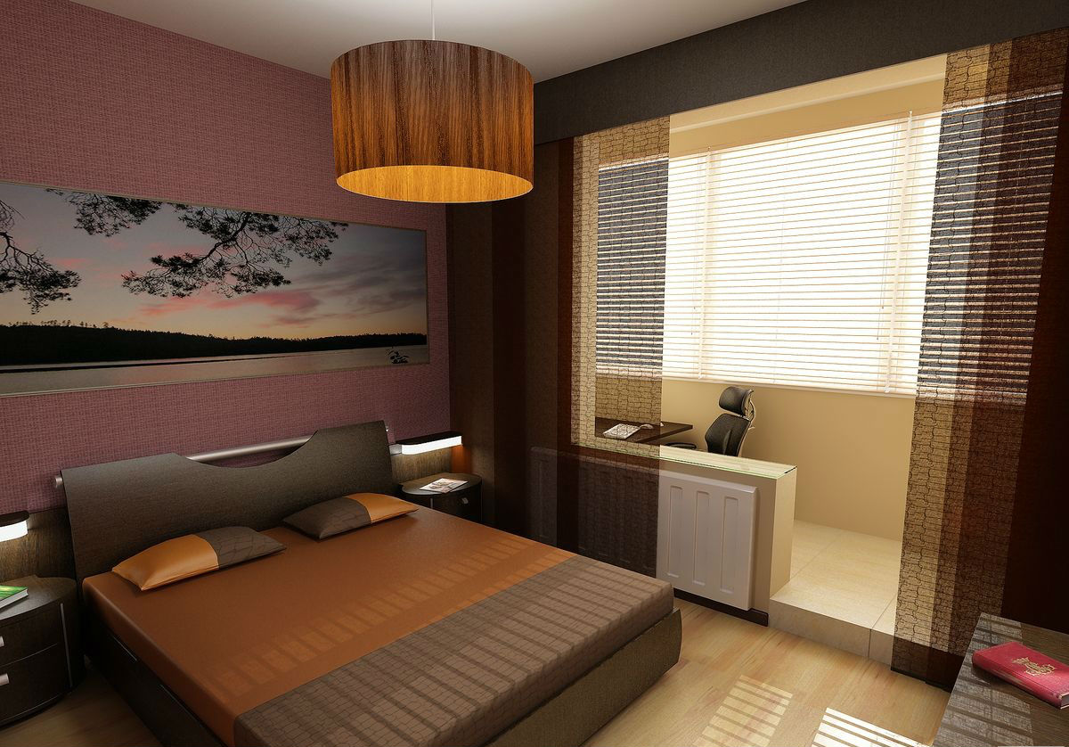 Дизайн спален совмещенных с балконом.