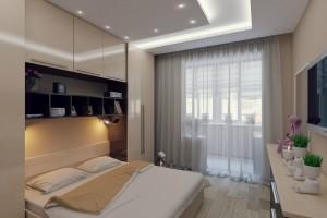 Дизайн небольшой бежевой спальни с выходом на балкон