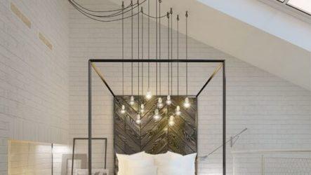 Кровать в обстановке современной спальни