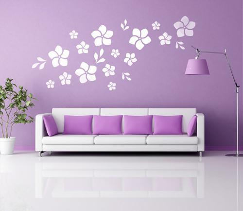 Трафареты цветов на стенах