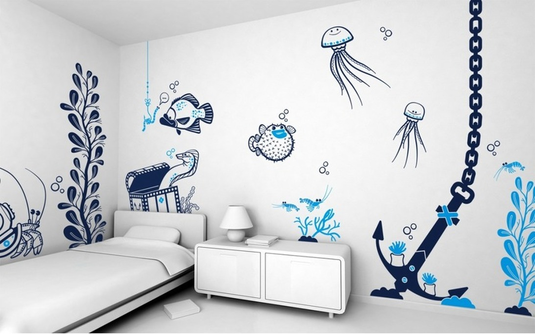 Рисунки своими руками на стене в интерьере 15