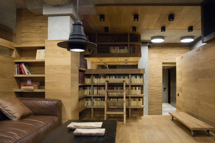 Дизайн библиотеки в гостиной