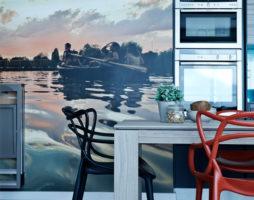 Фотообои в дизайне современной кухни