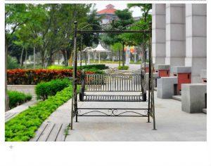 Hot-sale-outdoor-handicrafts-decorative-wrought-iron-patio-garden-funiture-metal-swing-bench-outdoor-furniture-garden