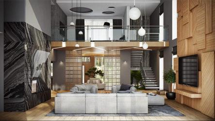 Дизайн интерьера дома в Подмосковье – немного Японии в русском лесу
