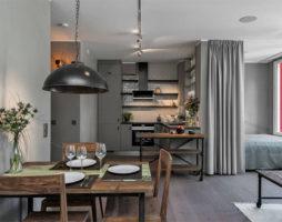 Проект холостяцкой квартиры в индустриальном стиле со  скандинавскими мотивами