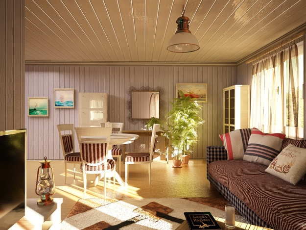 Дизайн гостинной и кухни вагонкой