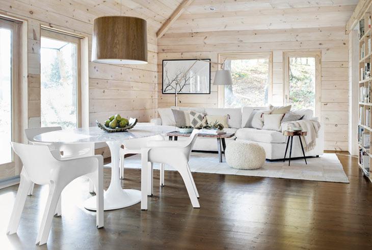 Дизайн деревянных домов в белом цвете