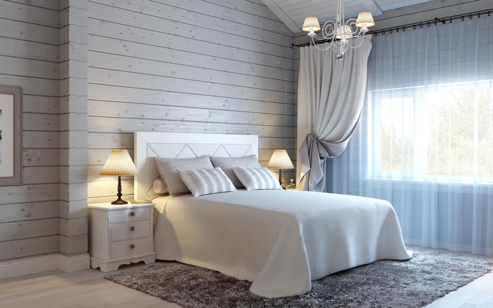 Дизайн спальни загородного дома в светлых тонах