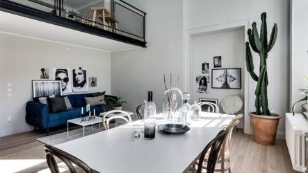 Дизайн студии в стиле лофт с элементами традиционного скандинавского стиля