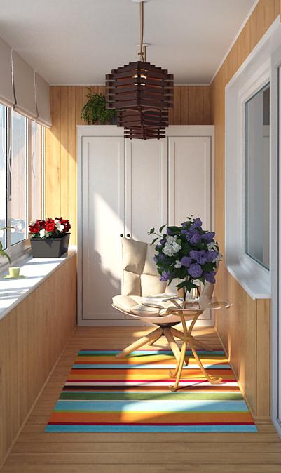 Цвет шкафа должен подходить к стилю оформления балкона