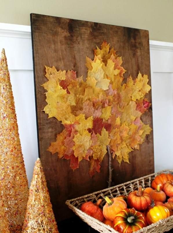 декор из сухих листьев