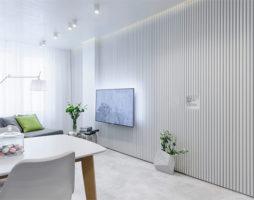 Дизайн двухкомнатной квартиры в белом цвете