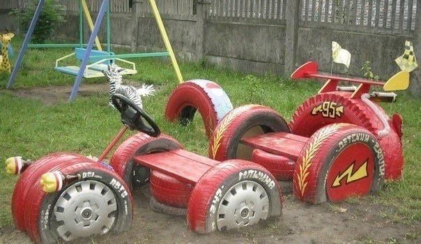 Поделки из колёс для сада