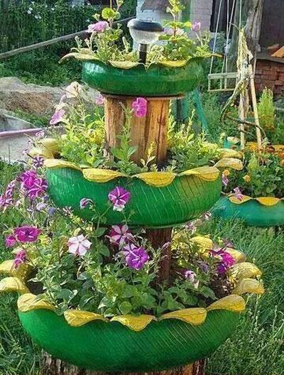 создаем поделки из старых шин для сада