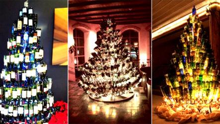 Как люди используют винные бутылки? Они делают из них новогодние елки!