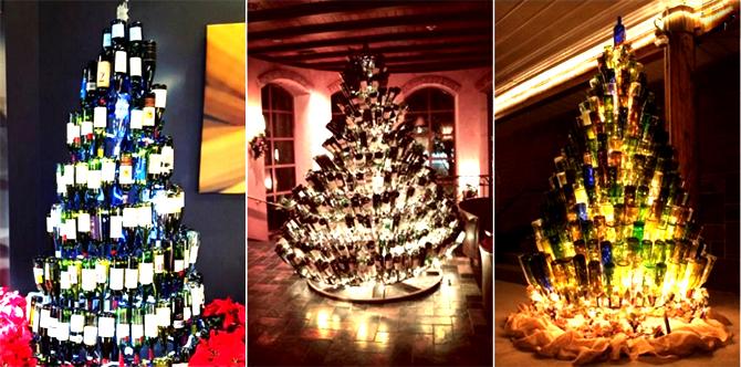 Новогодние елки из винных бутылок