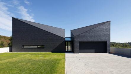 Дом со сложной геометрией фасадов, как пример современной архитектуры