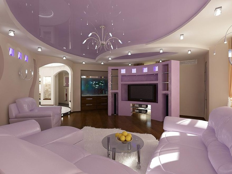 Дизайн потолков из гипсокартона и натяжных для гостиной