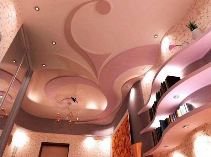 дизайн гипсокартонного потолка в зале