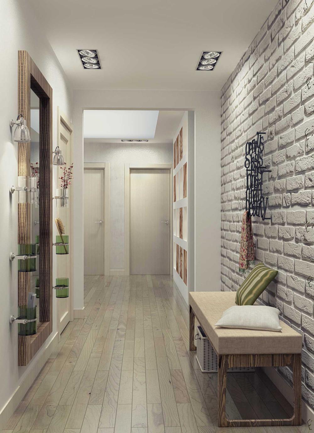 Дизайн узкого коридора с декоративным камнем