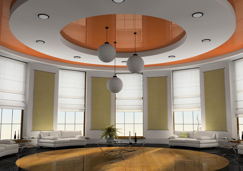 Дизайн потолка из гипсокартона с люстрой