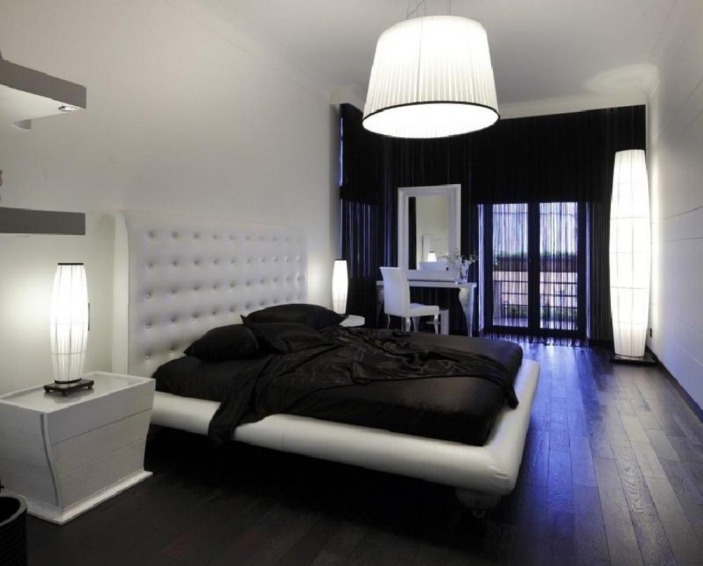 Дизайн спальни черно белая