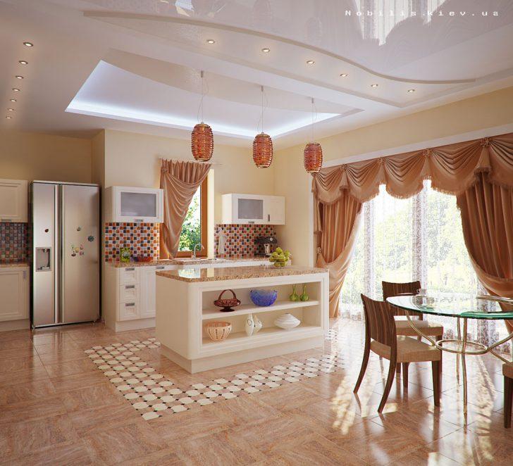 Для оформления просторной кухни можно использовать длинные шторы
