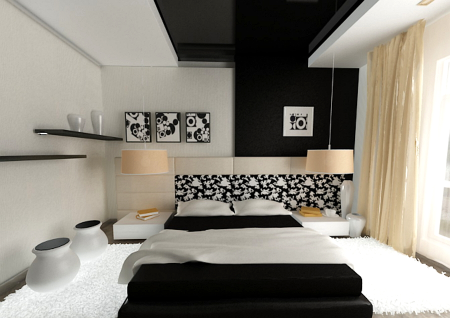 Черный (темный) потолок в интерьере квартиры: стильные