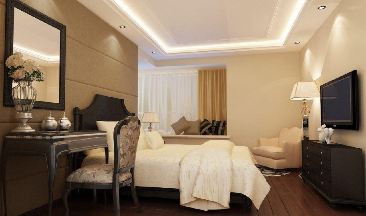 Натяжные потолки для спальни - фото примеров.