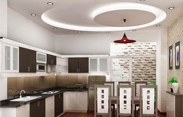 потолки из гипсокартона на кухне